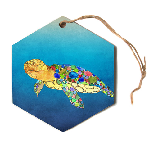 "Catherine Holcombe ""Bubbles"" Blue Turtle Hexagon Holiday Ornament"