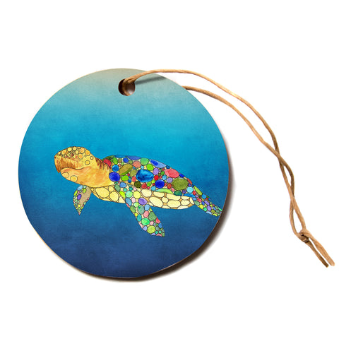 "Catherine Holcombe ""Bubbles"" Blue Turtle Circle Holiday Ornament"