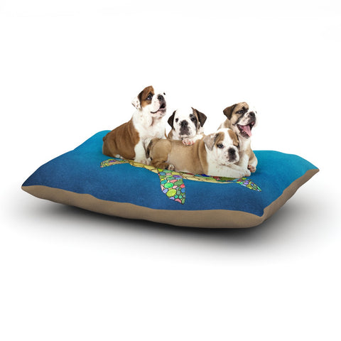 "Catherine Holcombe ""Bubbles"" Blue Turtle Dog Bed - KESS InHouse  - 1"