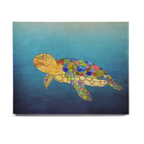 "Catherine Holcombe ""Bubbles"" Blue Turtle Birchwood Wall Art - KESS InHouse  - 1"