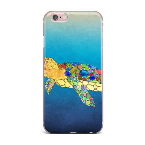 "Catherine Holcombe ""Bubbles"" Blue Turtle iPhone Case - KESS InHouse"