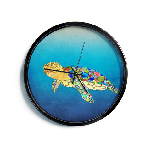 "Catherine Holcombe ""Bubbles"" Blue Turtle Modern Wall Clock"