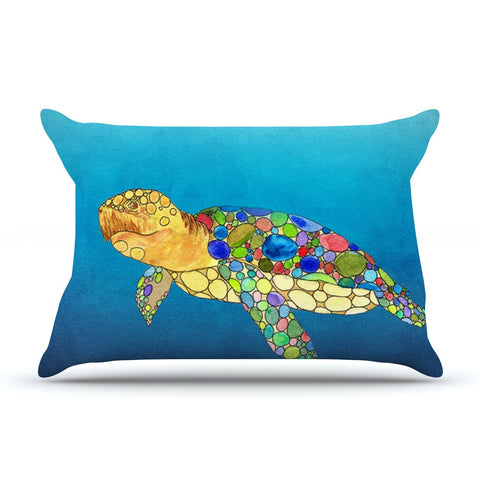 "Catherine Holcombe ""Bubbles"" Blue Turtle Pillow Sham - KESS InHouse"