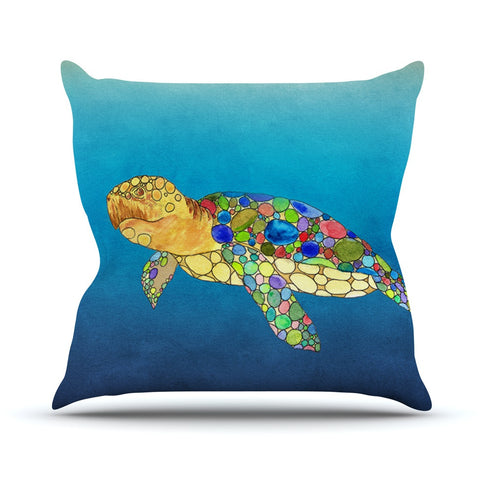 "Catherine Holcombe ""Bubbles"" Blue Turtle Outdoor Throw Pillow - KESS InHouse  - 1"