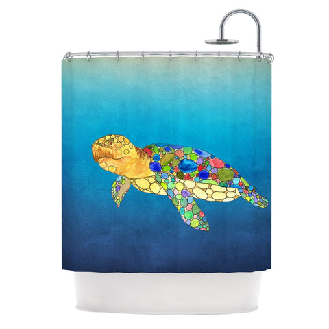 "Catherine Holcombe ""Bubbles"" Blue Turtle Shower Curtain - KESS InHouse"