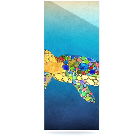 "Catherine Holcombe ""Bubbles"" Blue Turtle Luxe Rectangle Panel - KESS InHouse  - 1"