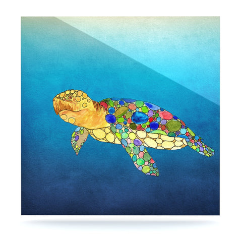 "Catherine Holcombe ""Bubbles"" Blue Turtle Luxe Square Panel - KESS InHouse  - 1"