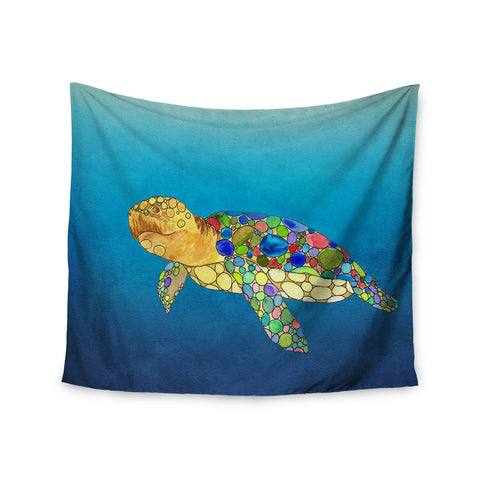 "Catherine Holcombe ""Bubbles"" Blue Turtle Wall Tapestry - KESS InHouse"
