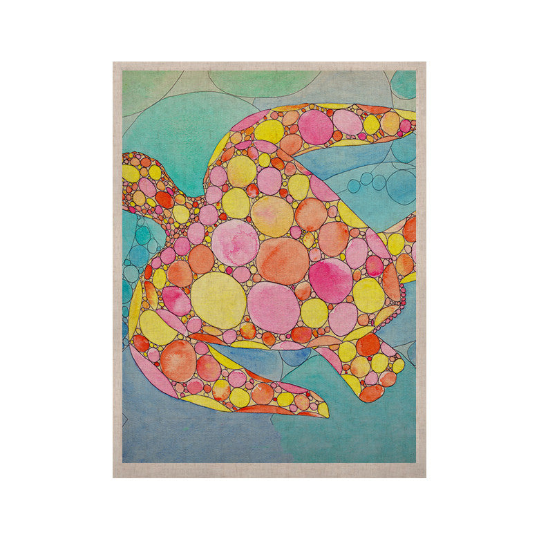 "Catherine Holcombe ""Circle Turtle"" Yellow Orange KESS Naturals Canvas (Frame not Included) - KESS InHouse  - 1"