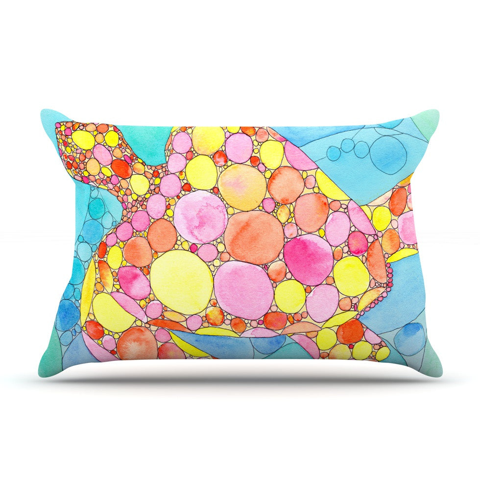 "Catherine Holcombe ""Circle Turtle"" Yellow Orange Pillow Sham - KESS InHouse"