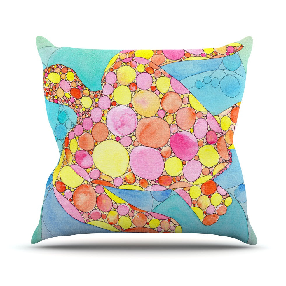"Catherine Holcombe ""Circle Turtle"" Yellow Orange Throw Pillow - KESS InHouse  - 1"