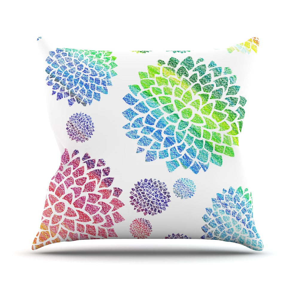 "Catherine Holcombe ""Feel the Rainbow"" Rainbow White Throw Pillow - KESS InHouse  - 1"