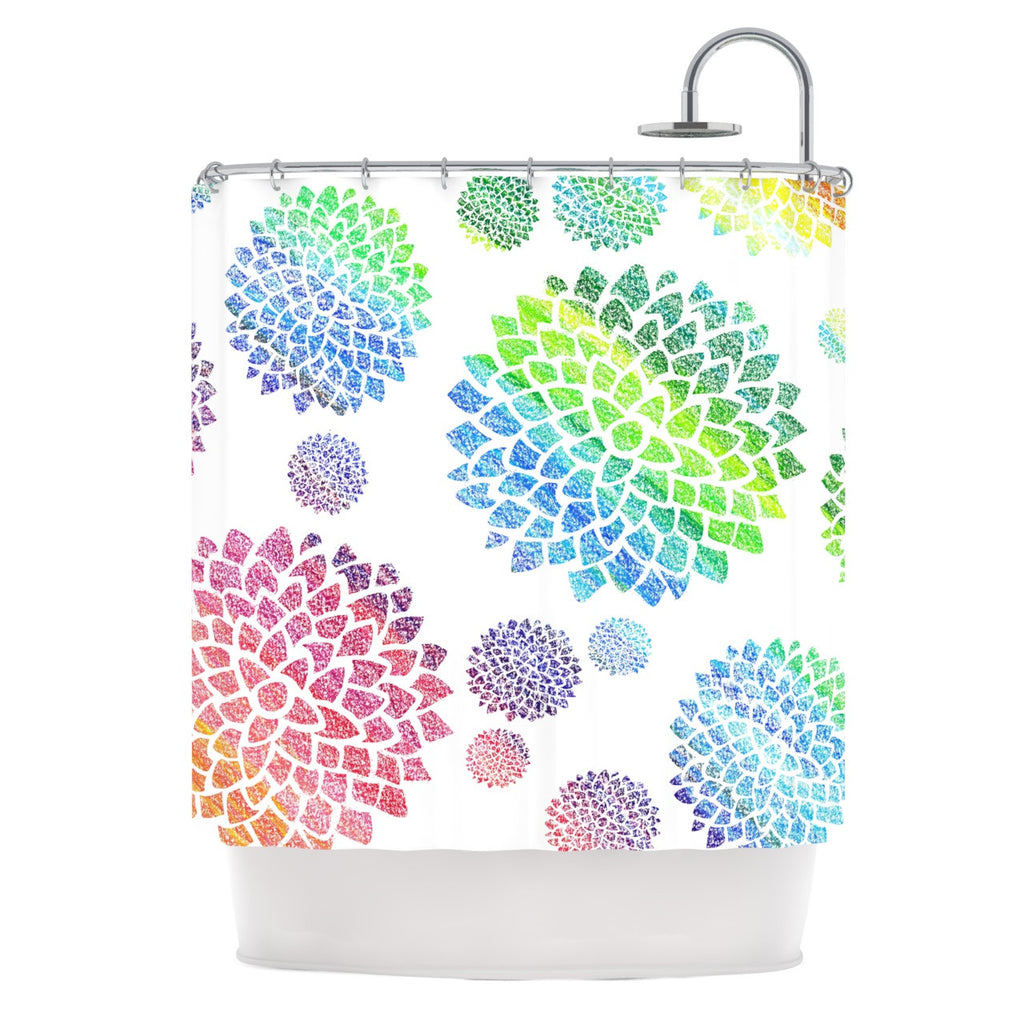 "Catherine Holcombe ""Feel the Rainbow"" Rainbow White Shower Curtain - KESS InHouse"