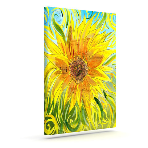 "Catherine Holcombe ""Sunflower Symphony"" Yellow Green Canvas Art - KESS InHouse  - 1"