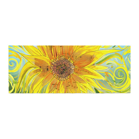 "Catherine Holcombe ""Sunflower Symphony"" Yellow Green Bed Runner - KESS InHouse"