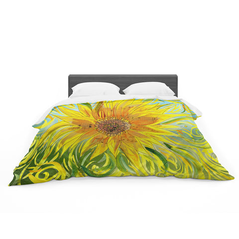 "Catherine Holcombe ""Sunflower Symphony"" Yellow Green Featherweight Duvet Cover"