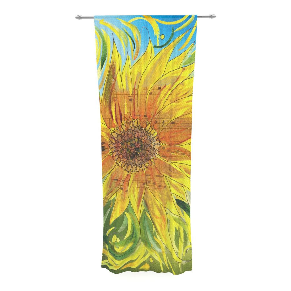 "Catherine Holcombe ""Sunflower Symphony"" Yellow Green Decorative Sheer Curtain - KESS InHouse  - 1"
