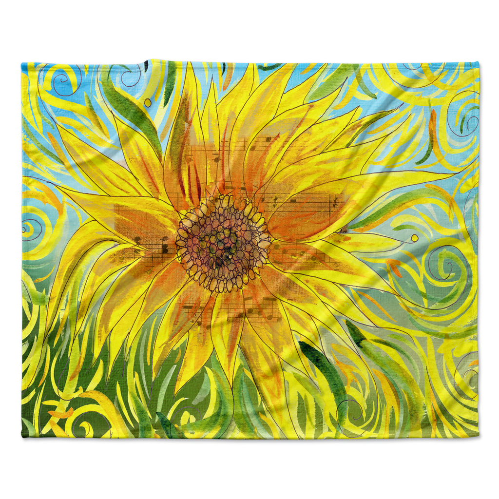 "Catherine Holcombe ""Sunflower Symphony"" Yellow Green Fleece Throw Blanket"