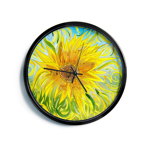 "Catherine Holcombe ""Sunflower Symphony"" Yellow Green Modern Wall Clock"