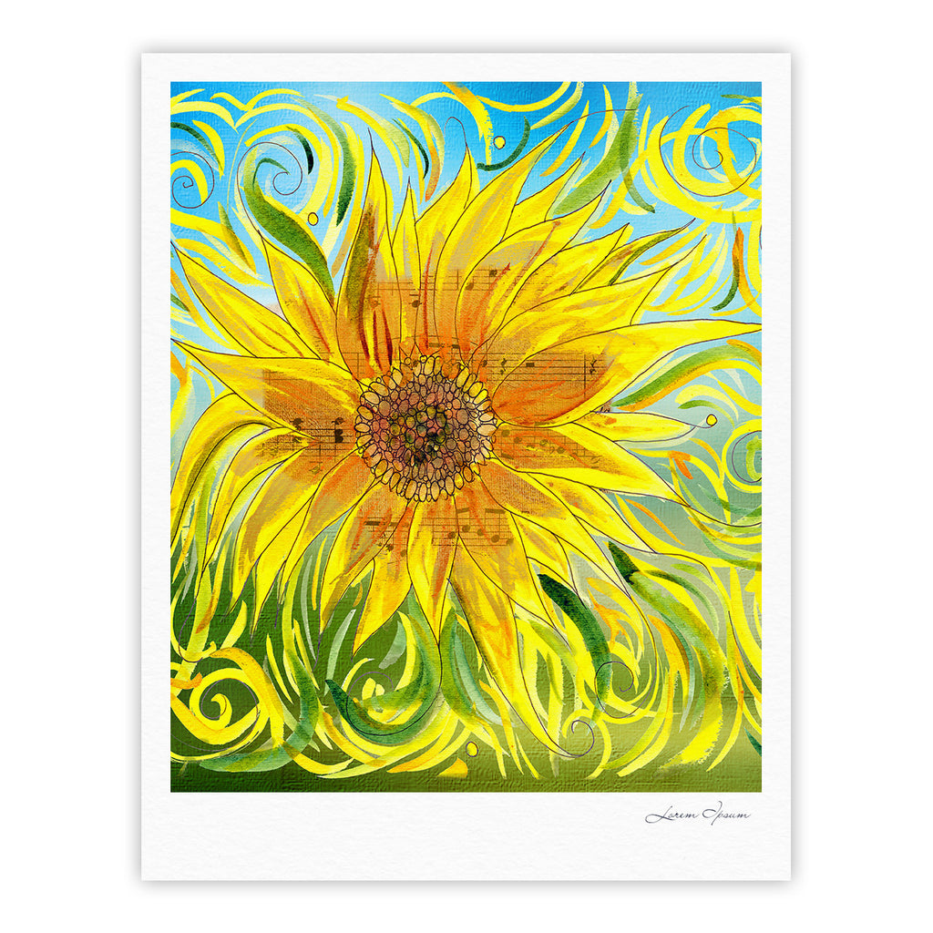 "Catherine Holcombe ""Sunflower Symphony"" Yellow Green Fine Art Gallery Print - KESS InHouse"
