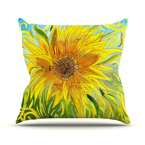 "Catherine Holcombe ""Sunflower Symphony"" Yellow Green Throw Pillow - KESS InHouse  - 1"