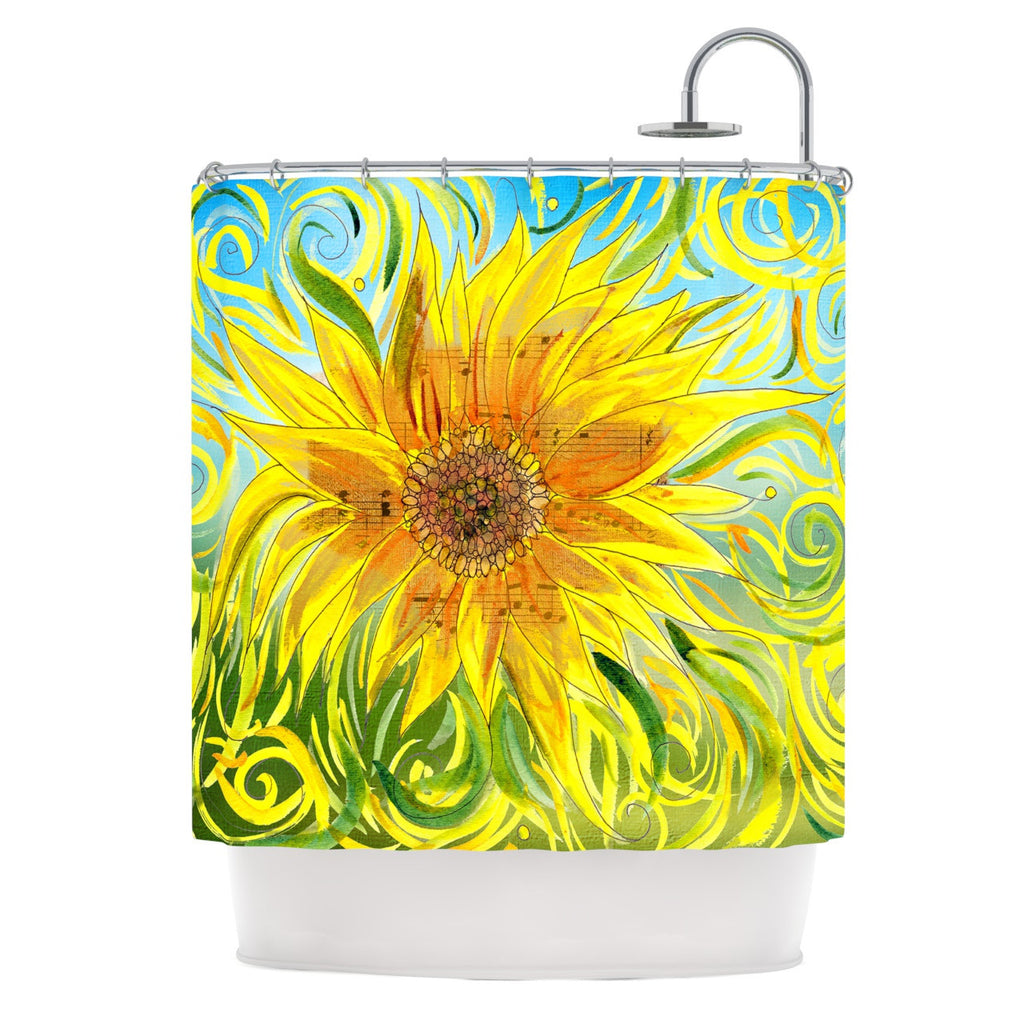 "Catherine Holcombe ""Sunflower Symphony"" Yellow Green Shower Curtain - KESS InHouse"