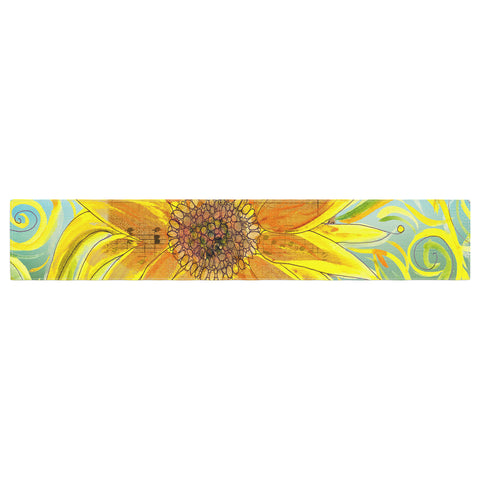 "Catherine Holcombe ""Sunflower Symphony"" Yellow Green Table Runner - KESS InHouse  - 1"