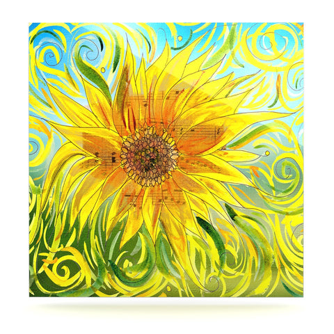 "Catherine Holcombe ""Sunflower Symphony"" Yellow Green Luxe Square Panel - KESS InHouse  - 1"