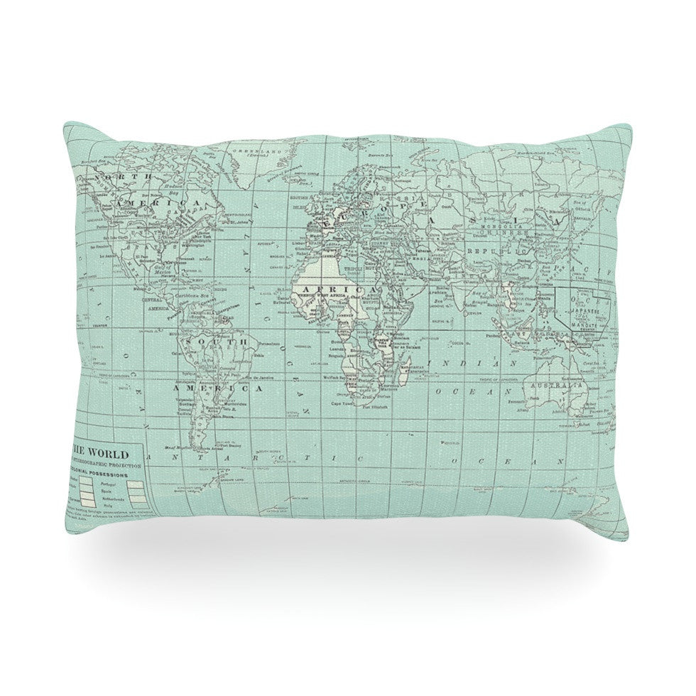 "Catherine Holcombe ""The Old World"" Blue Teal Oblong Pillow - KESS InHouse"