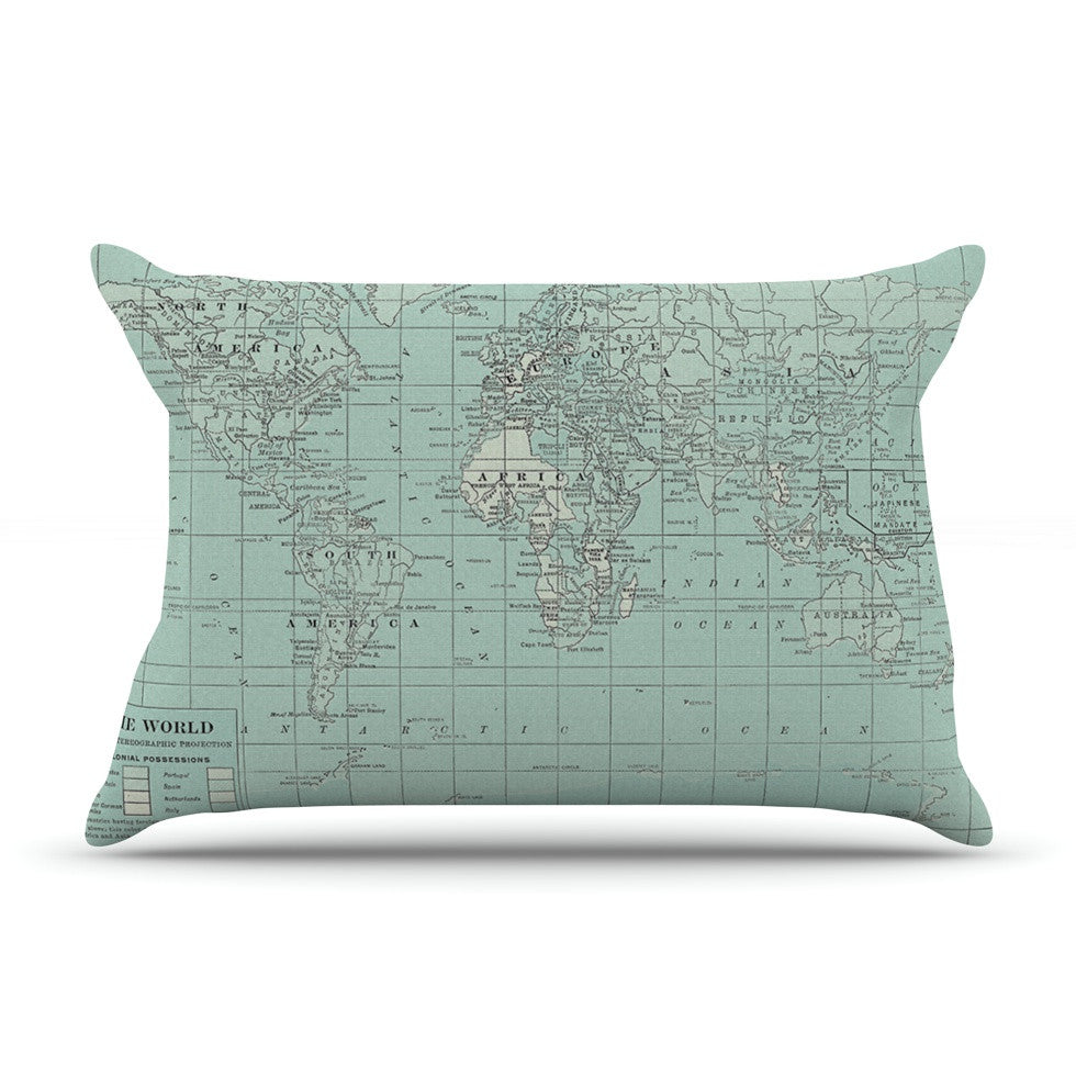 "Catherine Holcombe ""The Old World"" Blue Teal Pillow Sham - KESS InHouse"