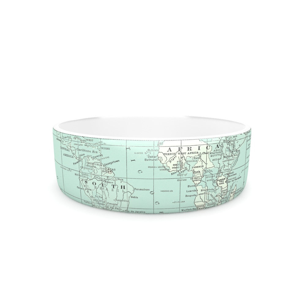 "Catherine Holcombe ""The Old World"" Blue Teal Pet Bowl - KESS InHouse"