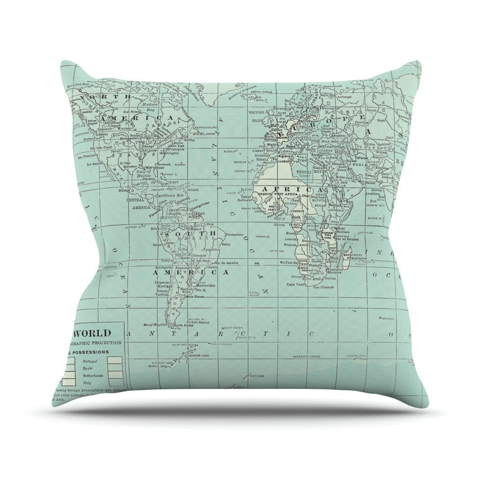 "Catherine Holcombe ""The Old World"" Blue Teal Outdoor Throw Pillow - KESS InHouse  - 1"
