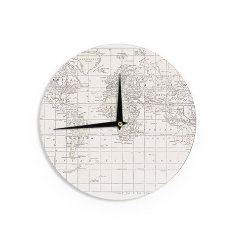 "Catherine Holcombe ""The Old World Cream"" White Wall Clock - KESS InHouse"