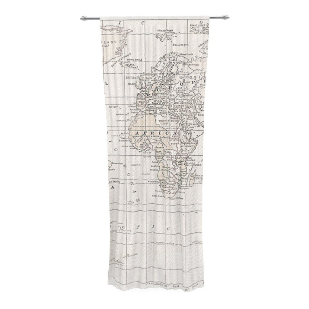 "Catherine Holcombe ""The Old World Cream"" White Decorative Sheer Curtain - KESS InHouse  - 1"