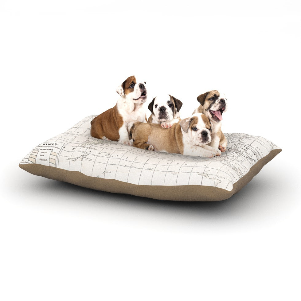"Catherine Holcombe ""The Old World Cream"" White Dog Bed - KESS InHouse  - 1"