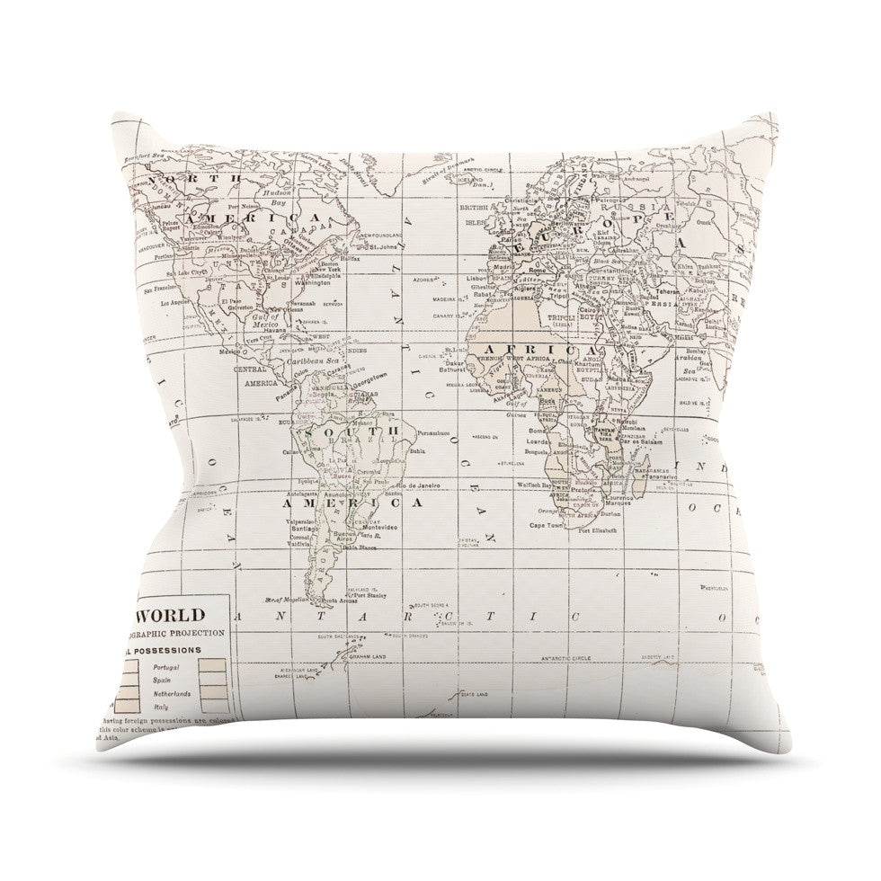 "Catherine Holcombe ""The Old World Cream"" White Outdoor Throw Pillow - KESS InHouse  - 1"