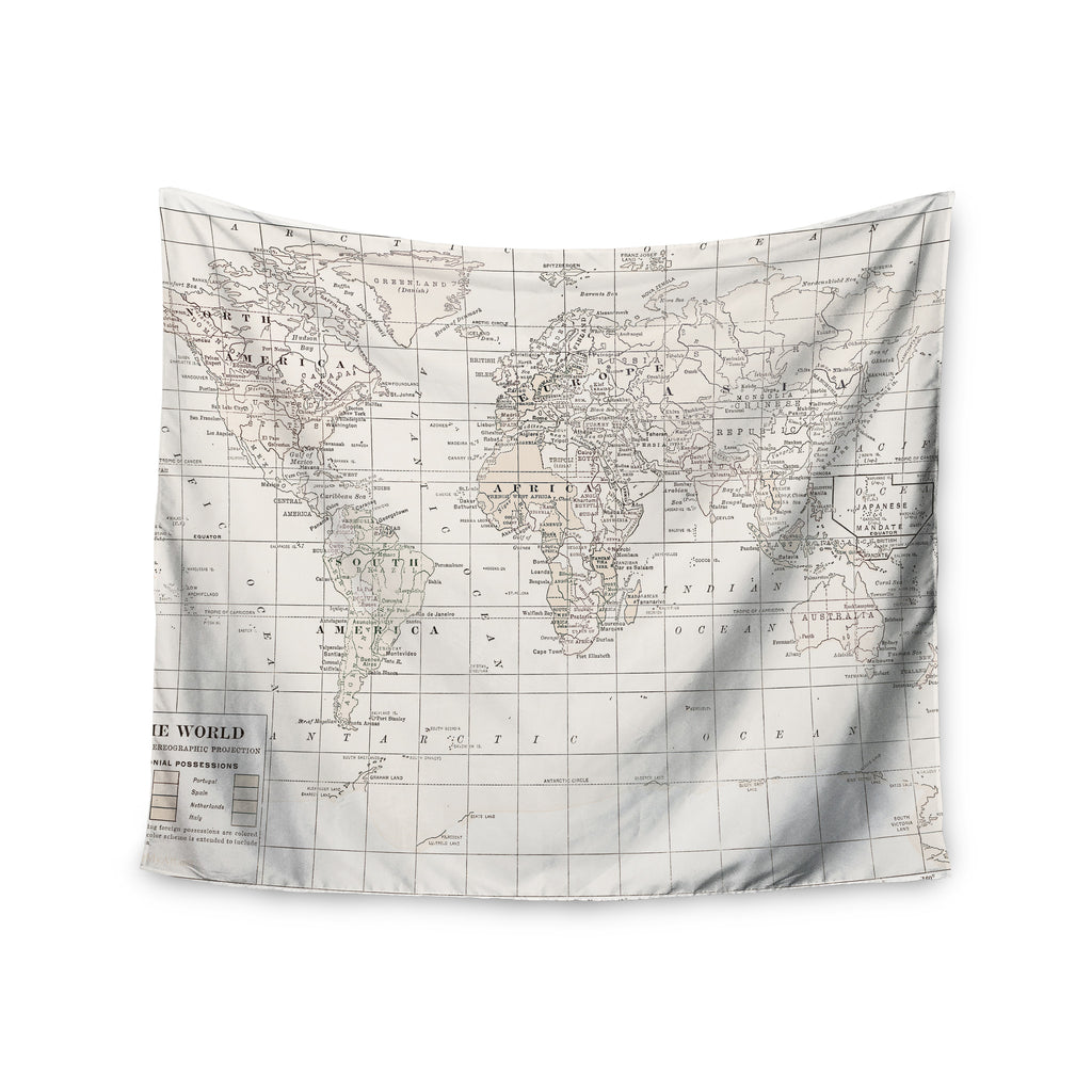 "Catherine Holcombe ""The Old World Cream"" White Wall Tapestry - KESS InHouse  - 1"