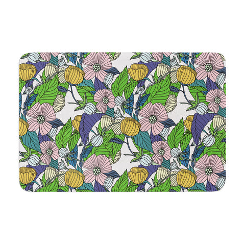 "Catherine Holcombe ""Spring Foliage"" Floral Pastels Memory Foam Bath Mat - KESS InHouse"