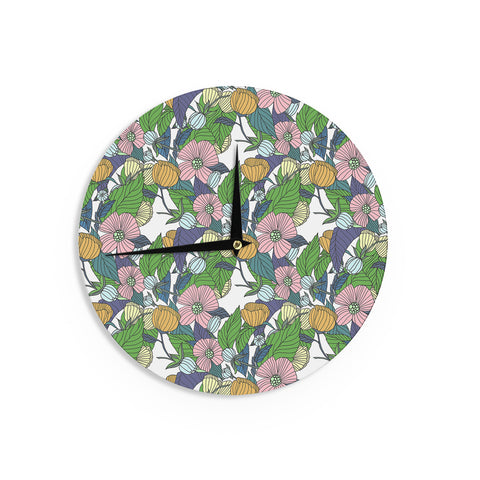 "Catherine Holcombe ""Spring Foliage"" Floral Pastels Wall Clock - KESS InHouse"