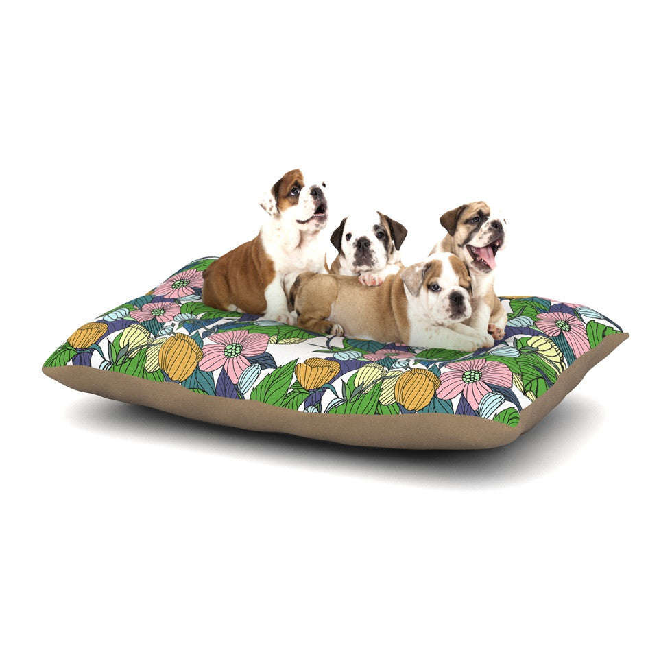 "Catherine Holcombe ""Spring Foliage"" Floral Pastels Dog Bed - KESS InHouse  - 1"
