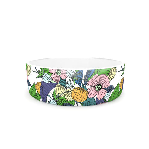 "Catherine Holcombe ""Spring Foliage"" Floral Pastels Pet Bowl - KESS InHouse"