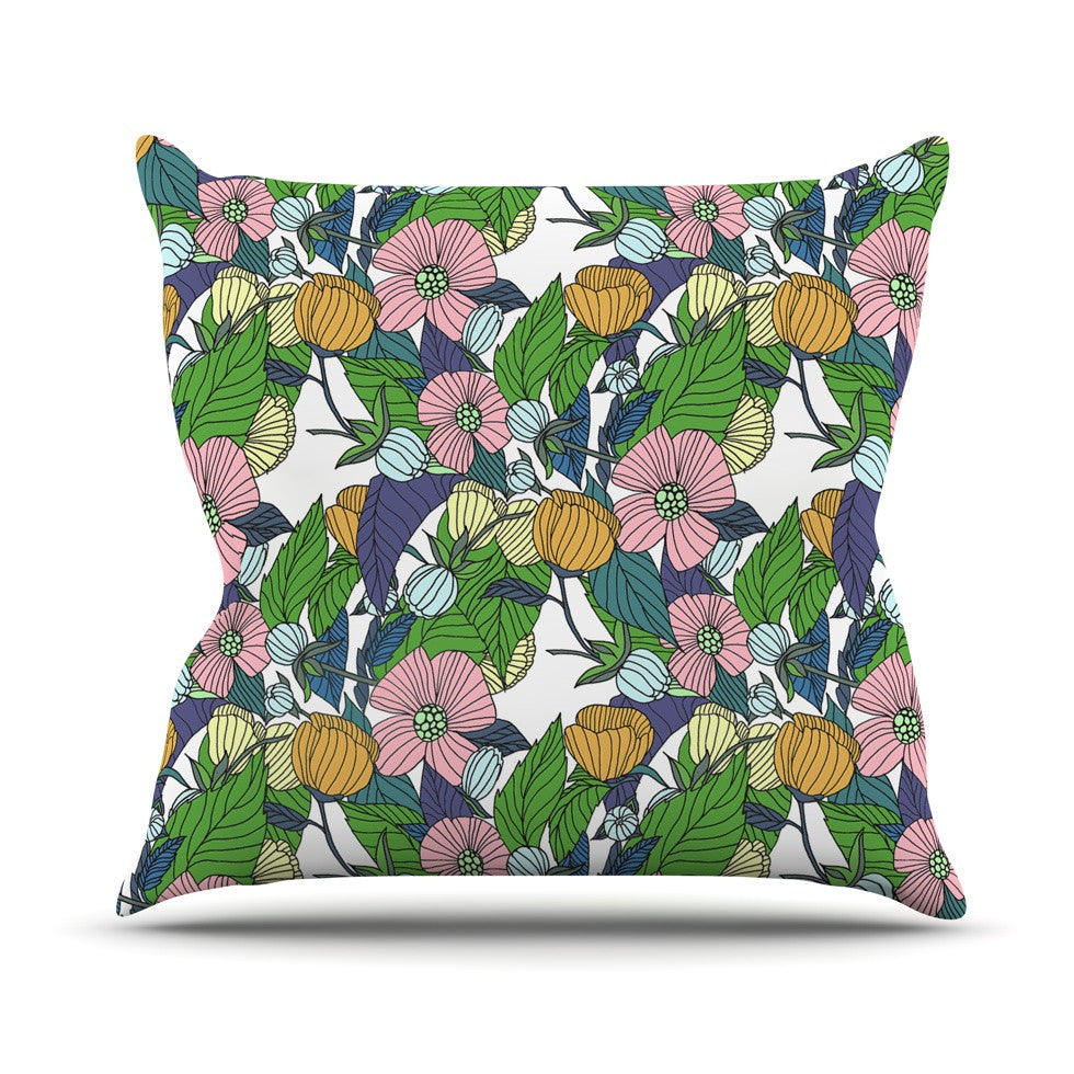 "Catherine Holcombe ""Spring Foliage"" Floral Pastels Outdoor Throw Pillow - KESS InHouse  - 1"