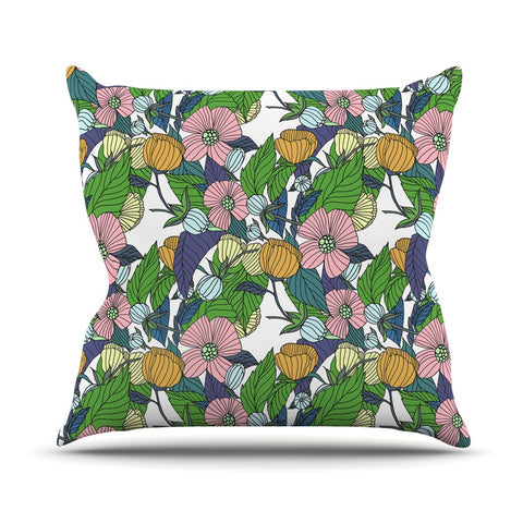 "Catherine Holcombe ""Spring Foliage"" Floral Pastels Throw Pillow - KESS InHouse  - 1"