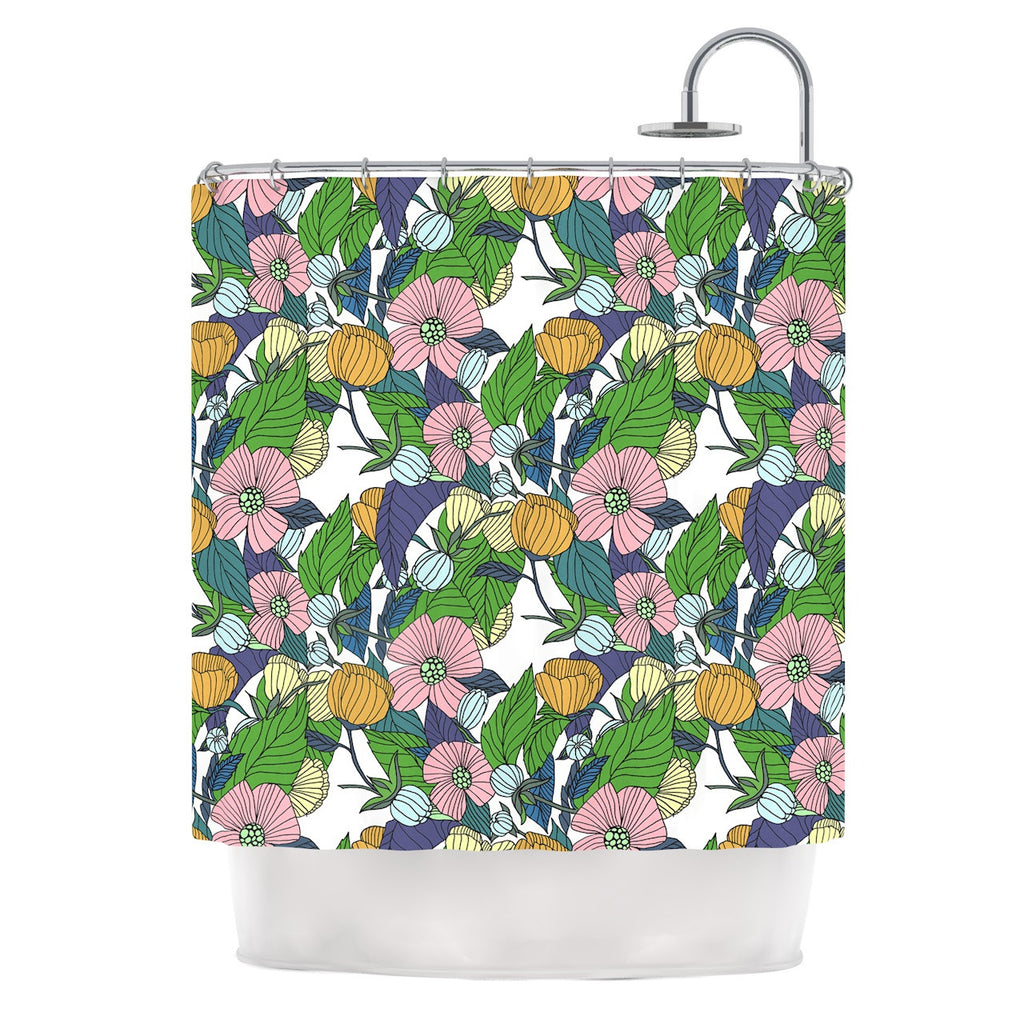 "Catherine Holcombe ""Spring Foliage"" Floral Pastels Shower Curtain - KESS InHouse"