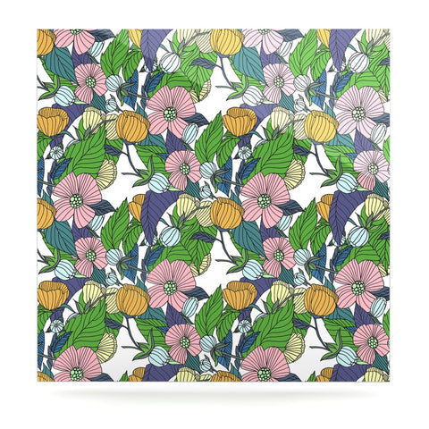"Catherine Holcombe ""Spring Foliage"" Floral Pastels Luxe Square Panel - KESS InHouse  - 1"