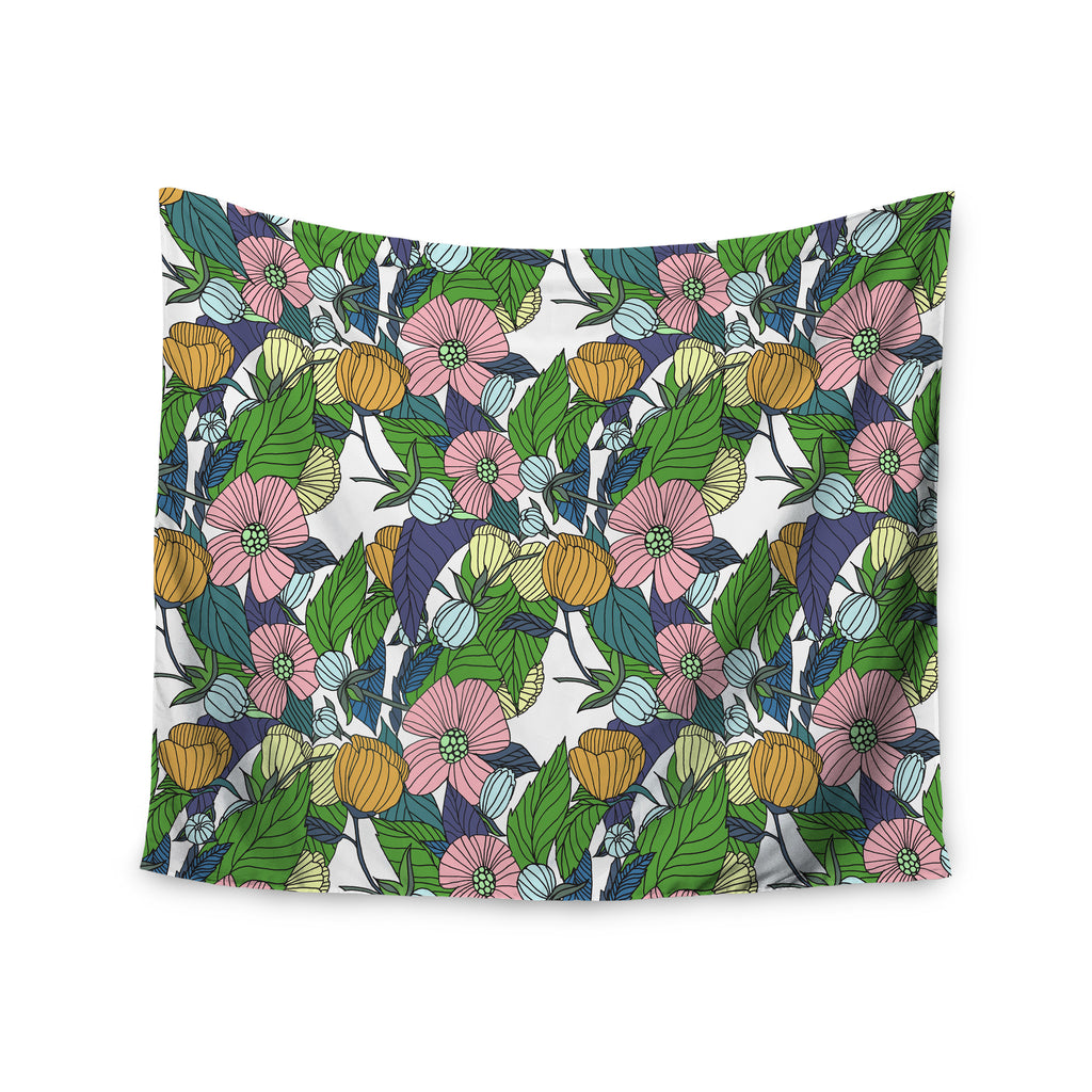 "Catherine Holcombe ""Spring Foliage"" Floral Pastels Wall Tapestry - KESS InHouse  - 1"