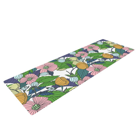 "Catherine Holcombe ""Spring Foliage"" Floral Pastels Yoga Mat - KESS InHouse  - 1"