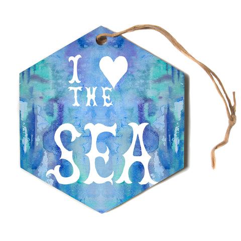 "Catherine Holcombe ""I Love the Sea 2"" Blue Teal Hexagon Holiday Ornament"