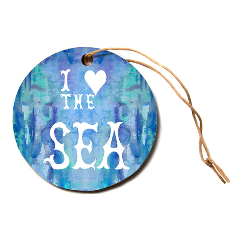 "Catherine Holcombe ""I Love the Sea 2"" Blue Teal Circle Holiday Ornament"