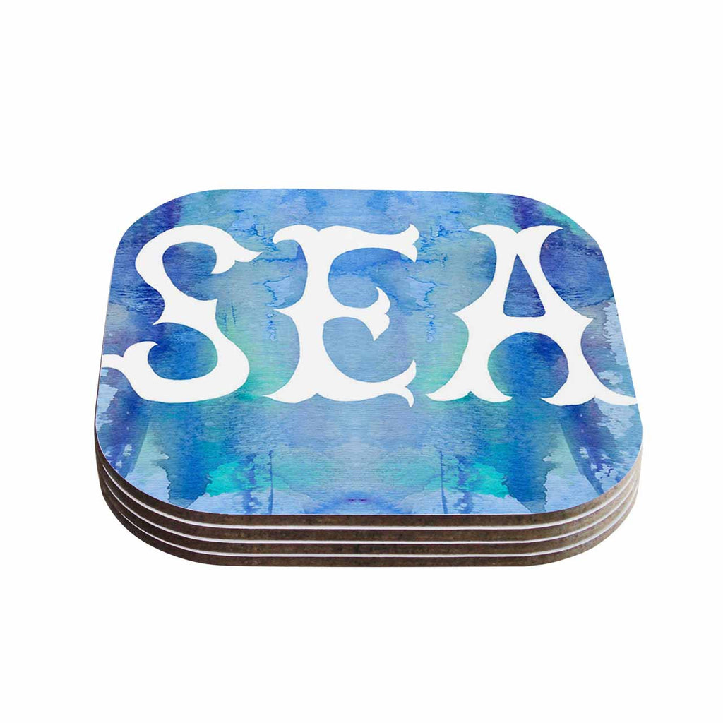 "Catherine Holcombe ""I Love The Sea 2"" Blue Teal Coasters (Set of 4)"